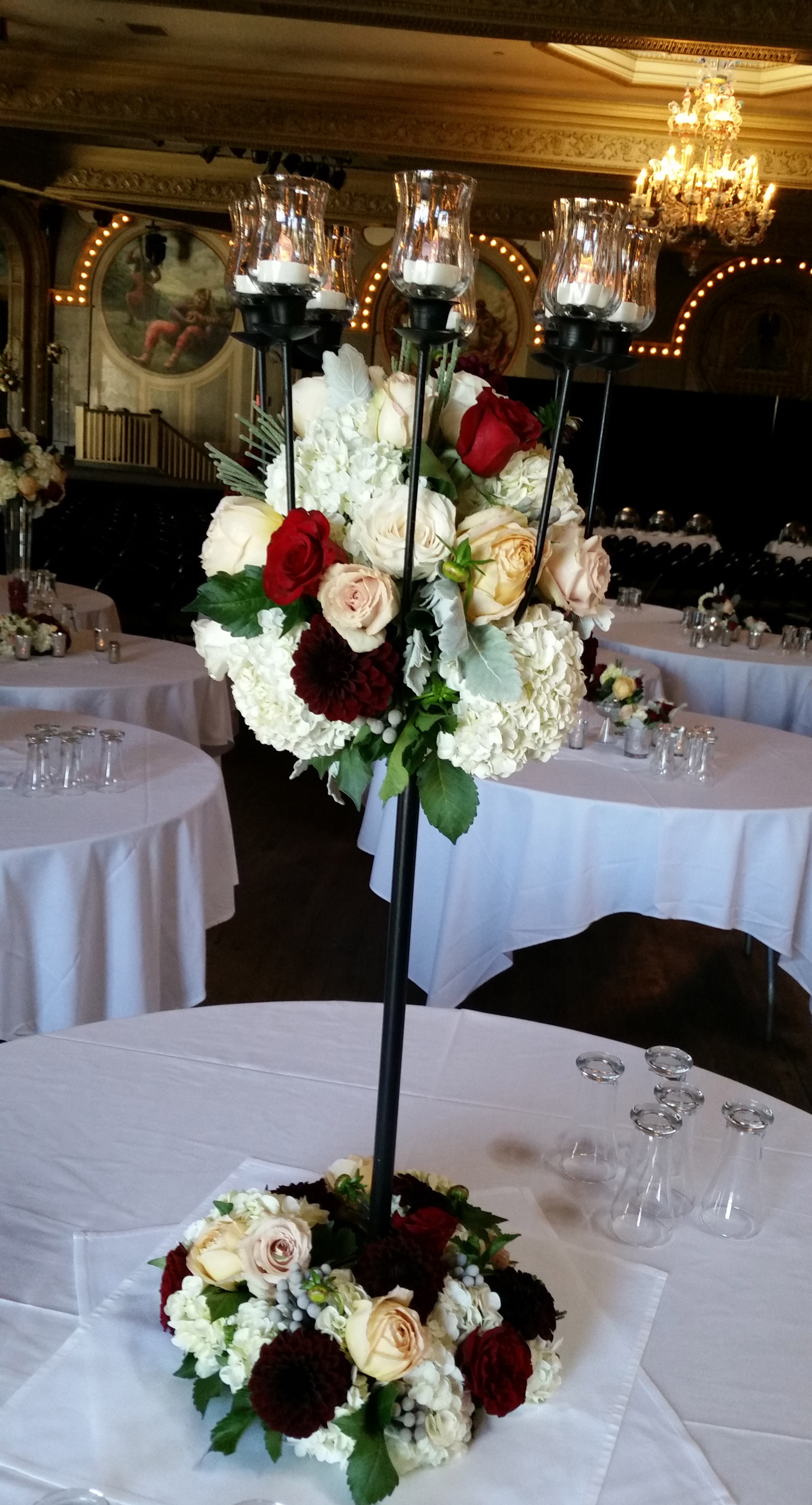 RF1241-Romantic and Elegant Burgand and White, Tall Candelabra Centerpiece