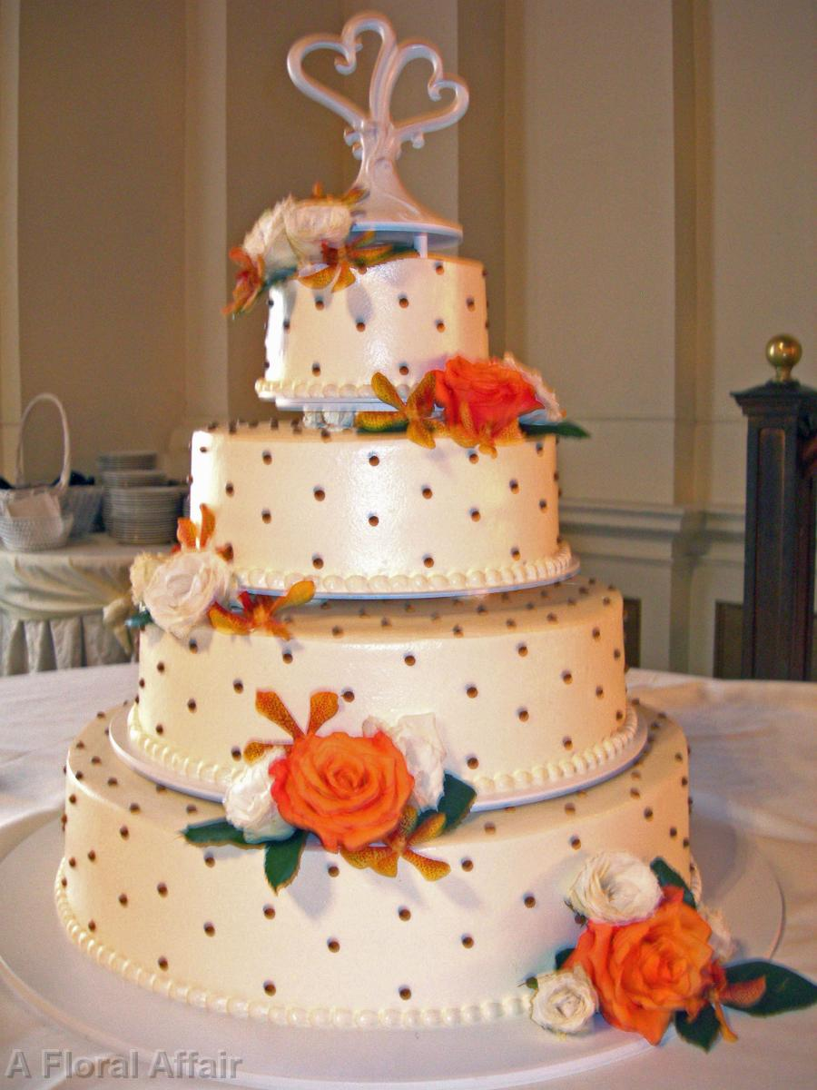 CA0075 Orange White And Gold Wedding Cake Flowers