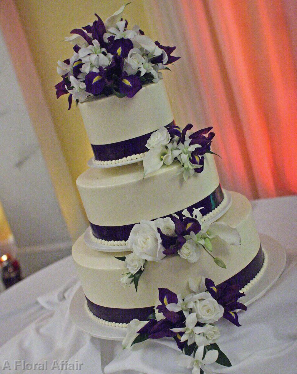 Wedding cakes ca0112 purple and white cascading cake flowers ca0112 purple and white cascading cake flowers mightylinksfo