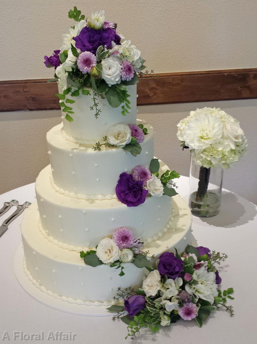 Wedding cakes ca0155 white cake with cascading purple and white ca0155 white cake with cascading purple and white flowers mightylinksfo